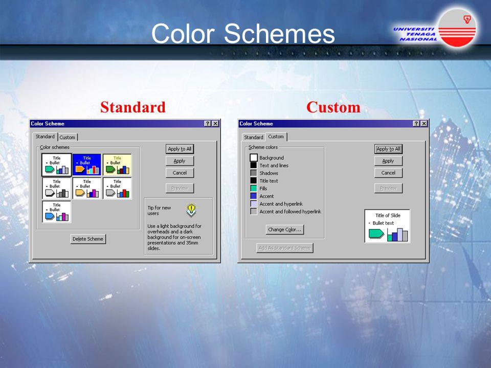 Color Schemes StandardCustom