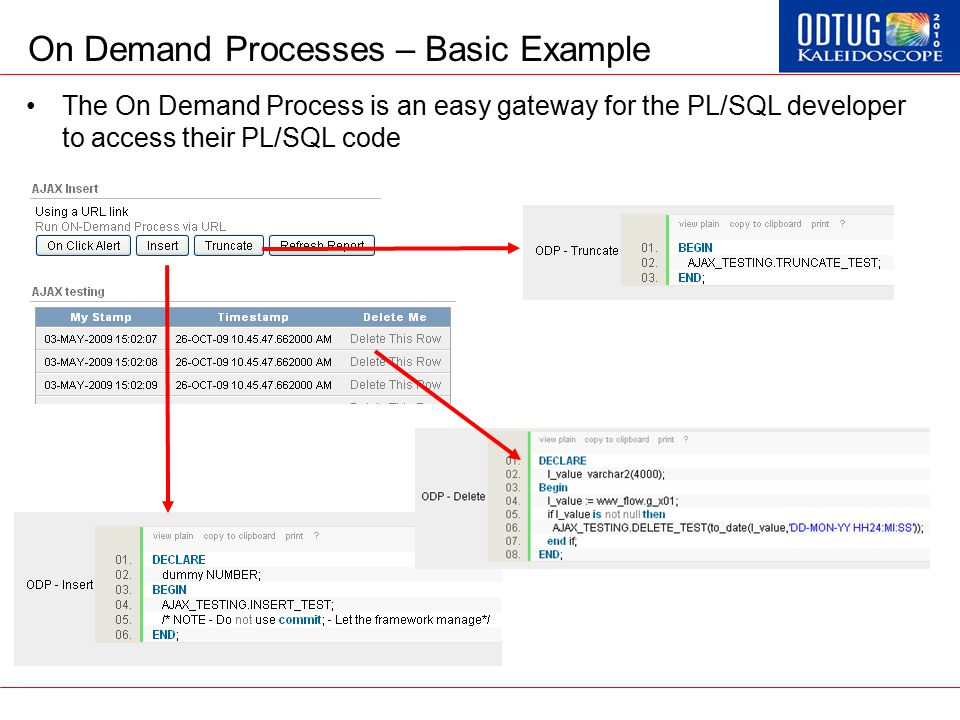 On Demand Processes – Basic Example The On Demand Process is an easy gateway for the PL/SQL developer to access their PL/SQL code
