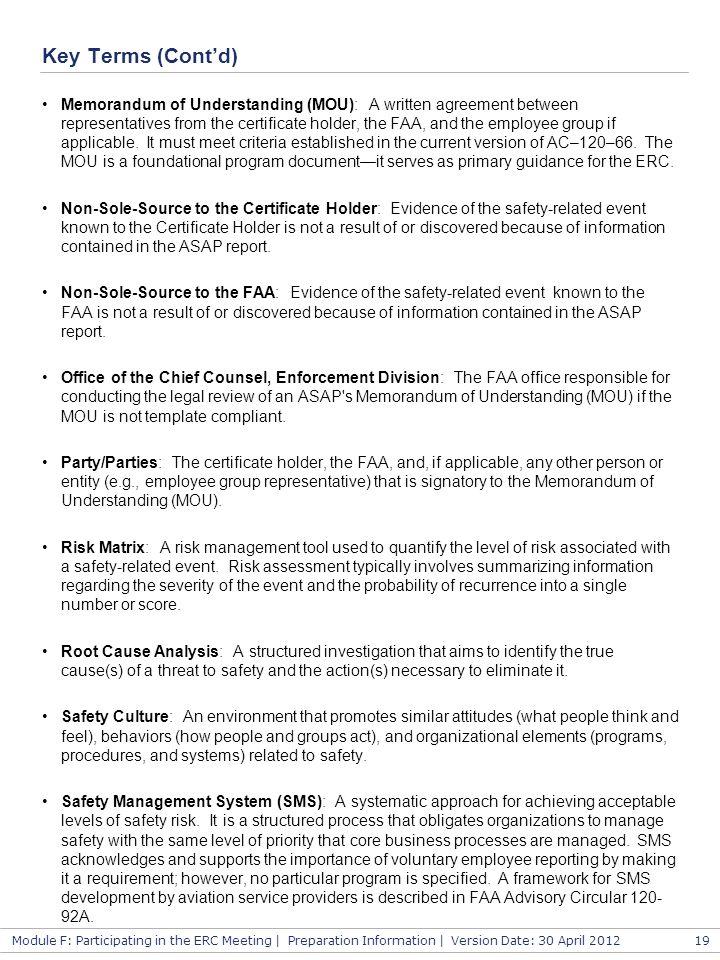 Module F: Participating in the ERC Meeting | Preparation Information | Version Date: 30 April 2012 Key Terms (Cont'd) Memorandum of Understanding (MOU