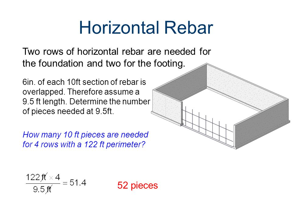 Horizontal Rebar 6in. of each 10ft section of rebar is overlapped.