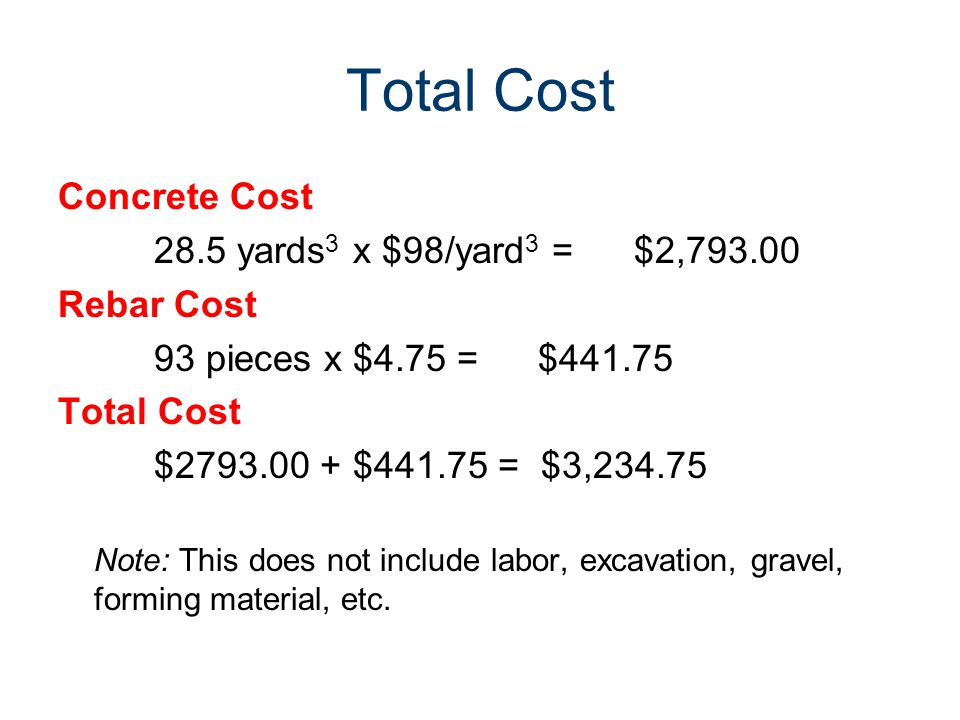 Total Cost Concrete Cost 28.5 yards 3 x $98/yard 3 =$2,793.00 Rebar Cost 93 pieces x $4.75 =$441.75 Total Cost $2793.00 + $441.75 = $3,234.75 Note: This does not include labor, excavation, gravel, forming material, etc.