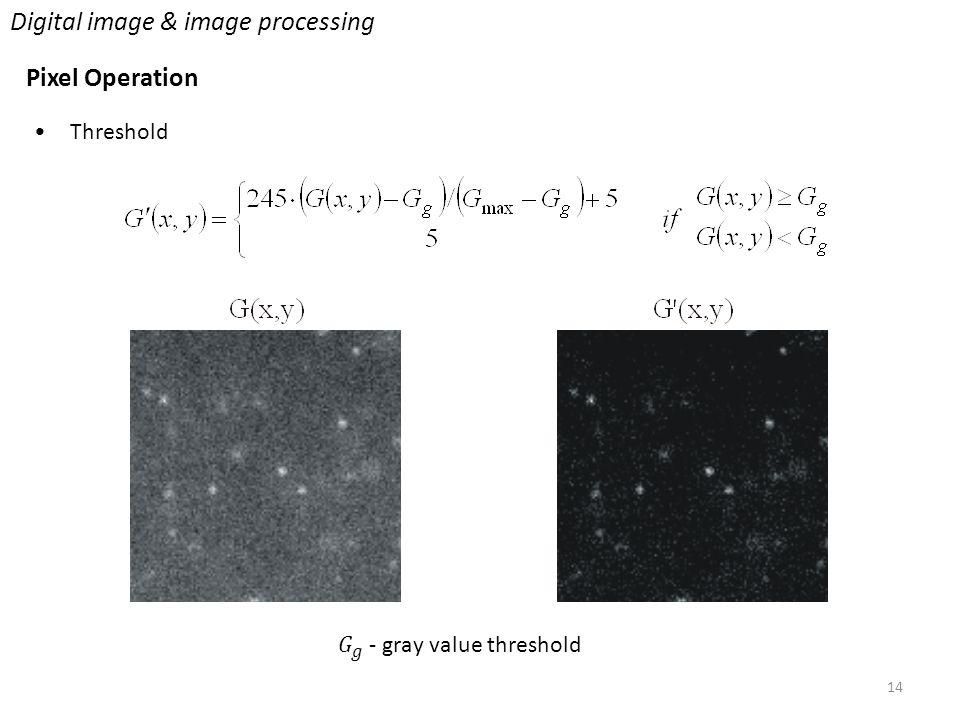 14 Digital image & image processing Pixel Operation Threshold