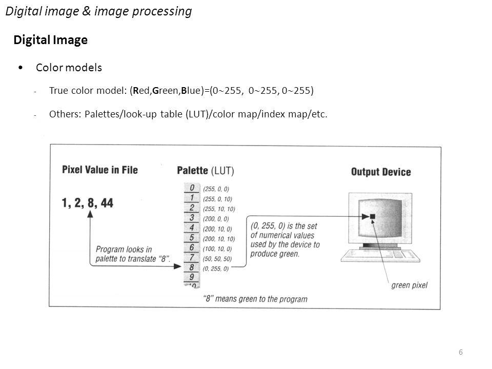 6 Digital image & image processing Digital Image Color models - True color model: (Red,Green,Blue)=(0  255, 0  255, 0  255) - Others: Palettes/look-up table (LUT)/color map/index map/etc.