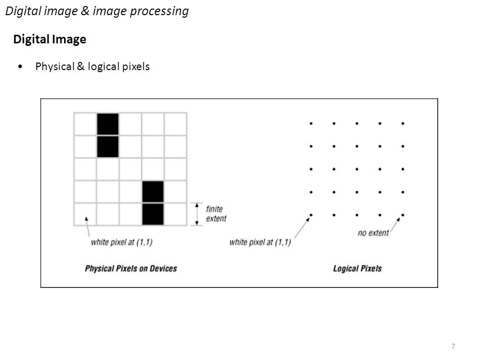7 Digital image & image processing Digital Image Physical & logical pixels