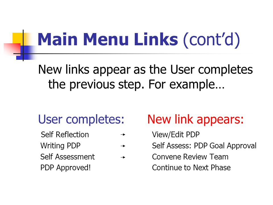 Main Menu Links (cont'd) New links appear as the User completes the previous step.