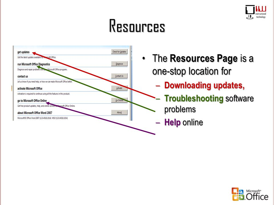 Resources The Resources Page is a one-stop location for – Downloading updates, – Troubleshooting software problems – Help online