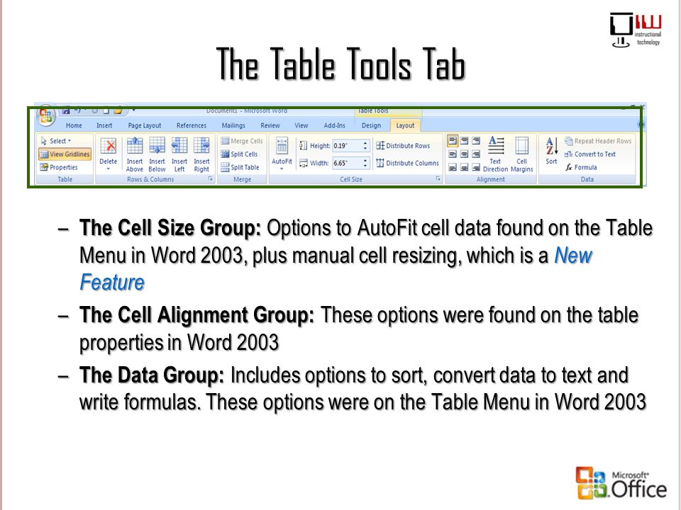 The Table Tools Tab – The Cell Size Group: Options to AutoFit cell data found on the Table Menu in Word 2003, plus manual cell resizing, which is a Ne