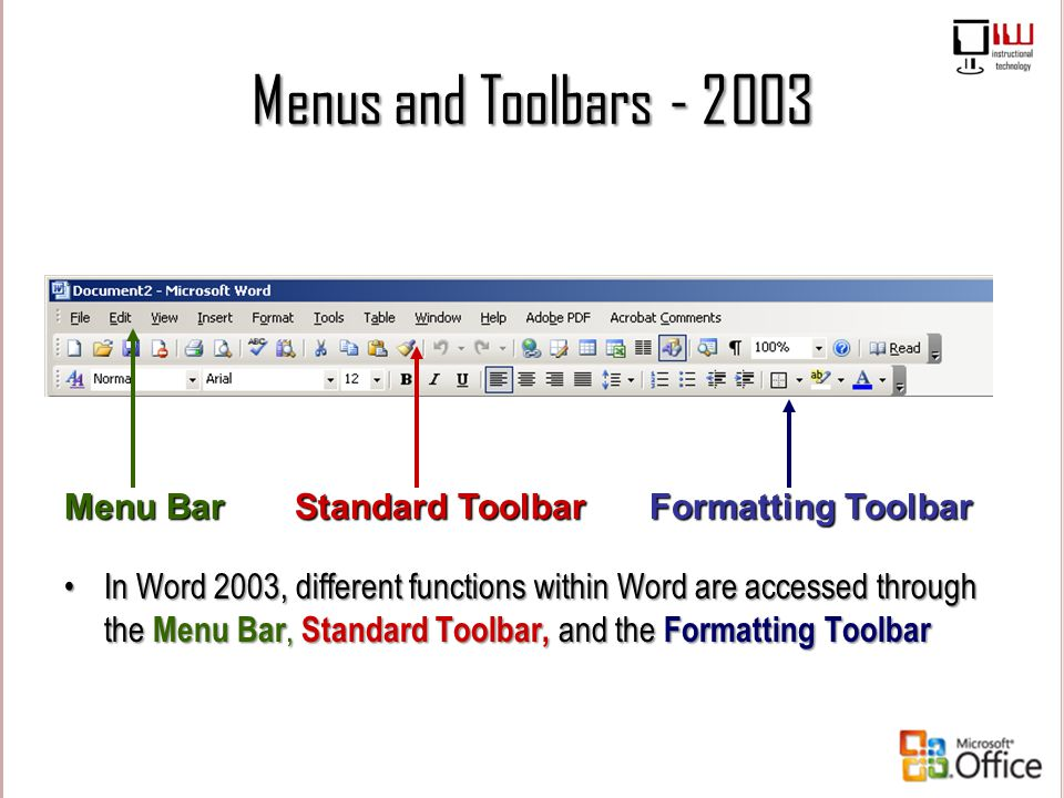 Menus and Toolbars - 2003 Menu Bar Formatting Toolbar Standard Toolbar In Word 2003, different functions within Word are accessed through the Menu Bar