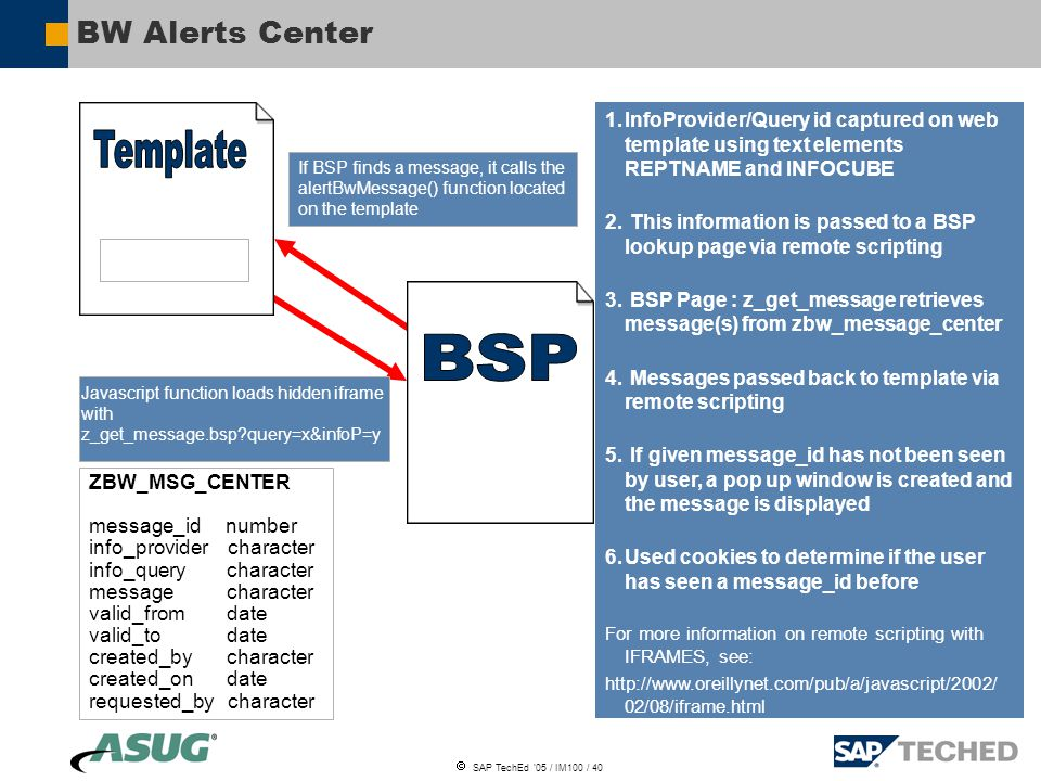  SAP TechEd '05 / IM100 / 40 BW Alerts Center Javascript function loads hidden iframe with z_get_message.bsp query=x&infoP=y If BSP finds a message, it calls the alertBwMessage() function located on the template 1.InfoProvider/Query id captured on web template using text elements REPTNAME and INFOCUBE 2.