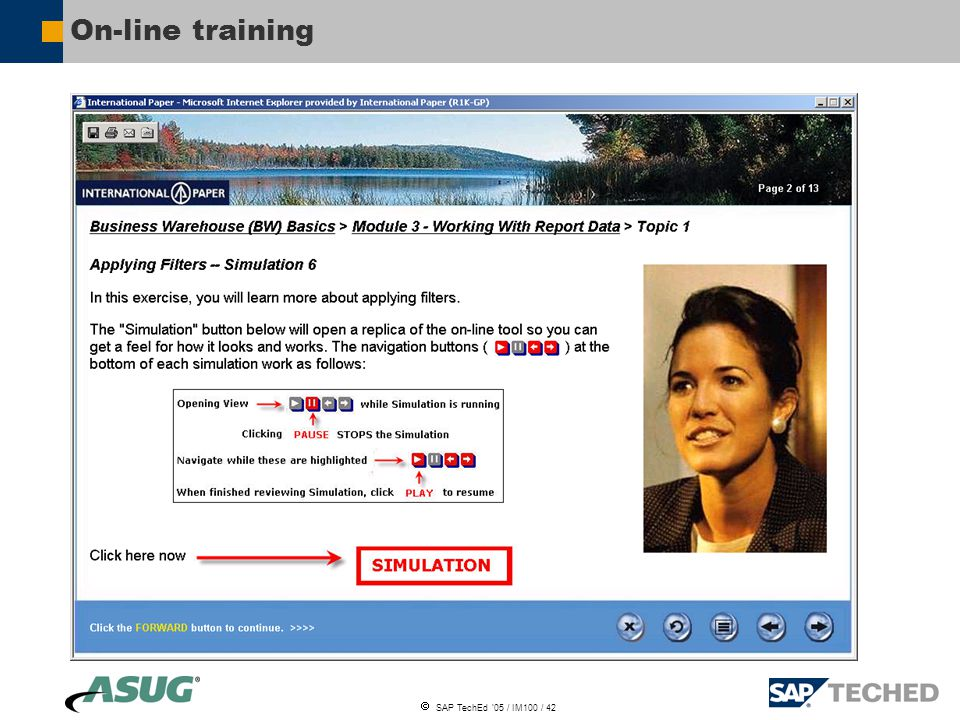  SAP TechEd '05 / IM100 / 42 On-line training