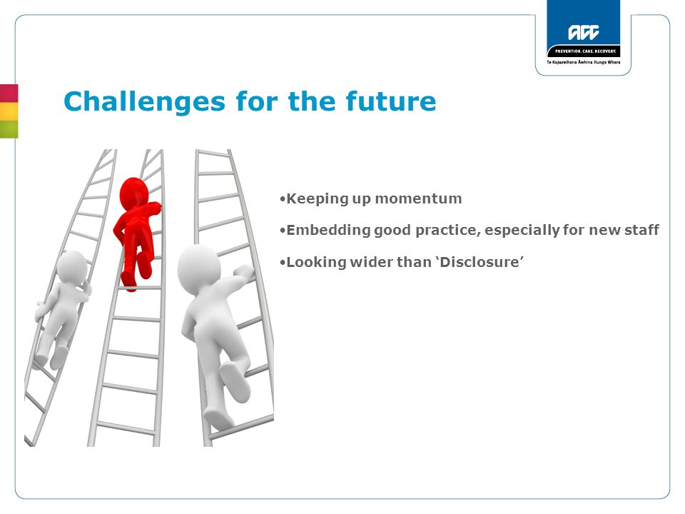 Challenges for the future Keeping up momentum Embedding good practice, especially for new staff Looking wider than 'Disclosure'