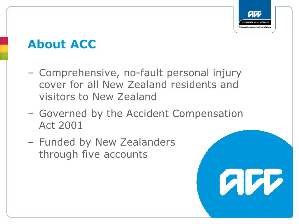 –Comprehensive, no-fault personal injury cover for all New Zealand residents and visitors to New Zealand –Governed by the Accident Compensation Act 2001 –Funded by New Zealanders through five accounts