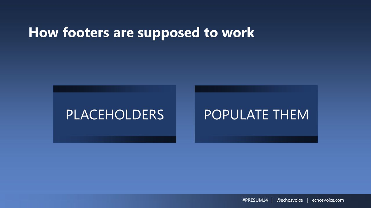 How footers are supposed to work PLACEHOLDERSPOPULATE THEM #PRESUM14 | @echosvoice | echosvoice.com