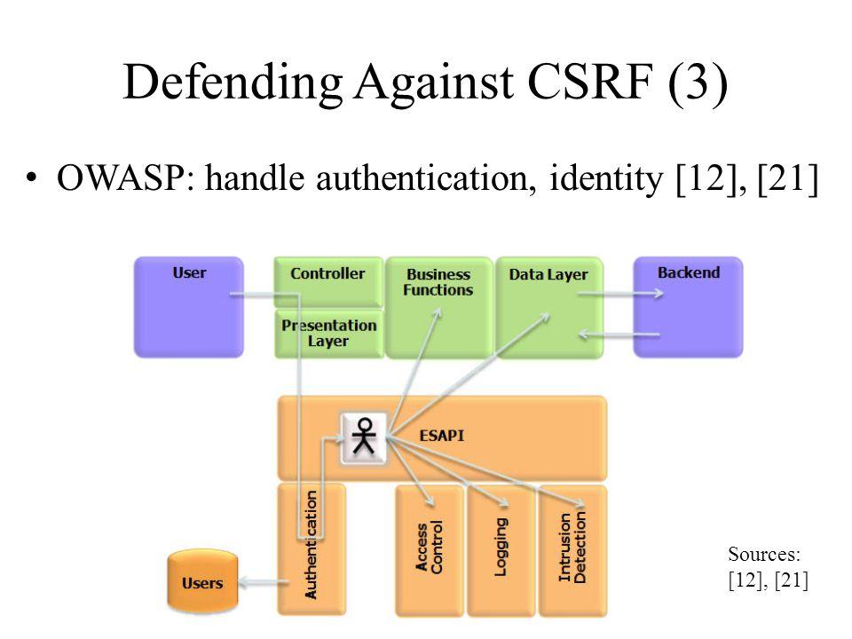 Defending Against CSRF (3) OWASP: handle authentication, identity [12], [21] Sources: [12], [21]