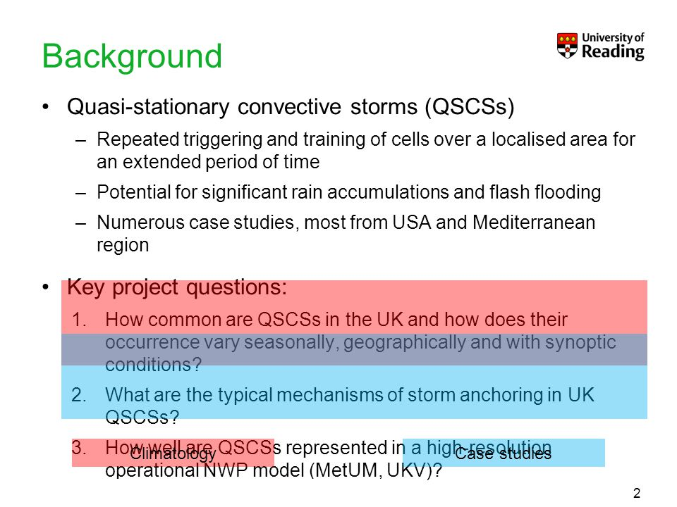 To put your footer here go to View > Header and Footer Background Quasi-stationary convective storms (QSCSs) –Repeated triggering and training of cell