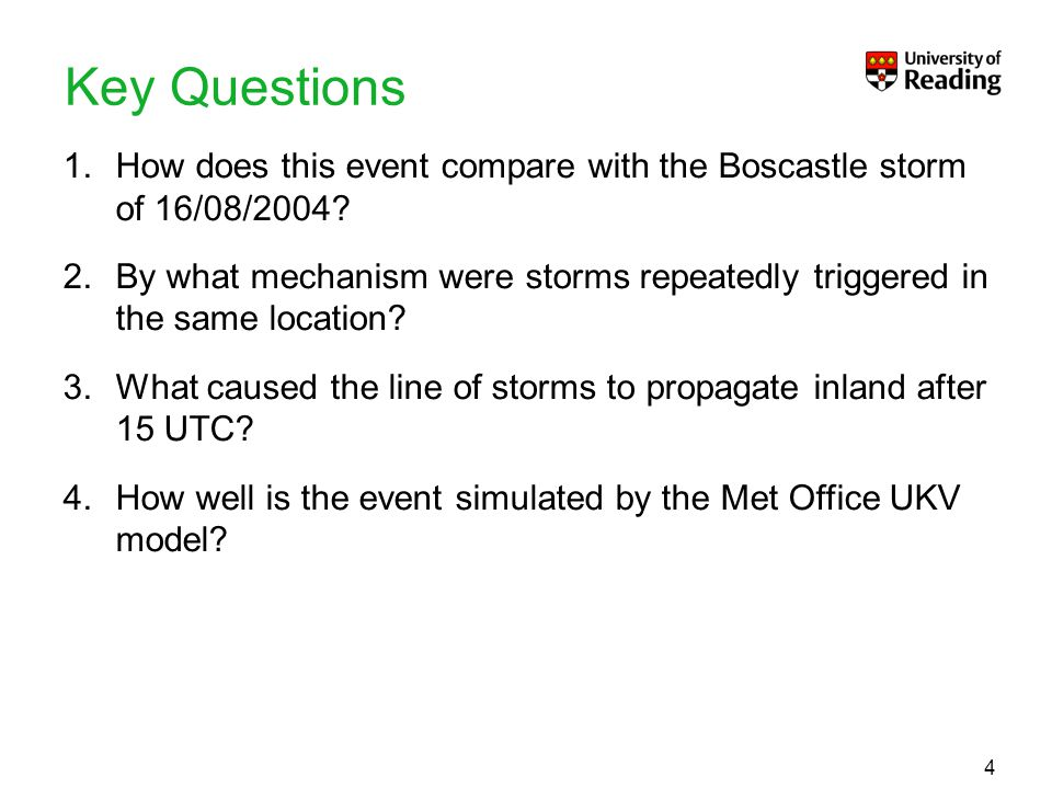To put your footer here go to View > Header and Footer4 Key Questions 1.How does this event compare with the Boscastle storm of 16/08/2004? 2.By what