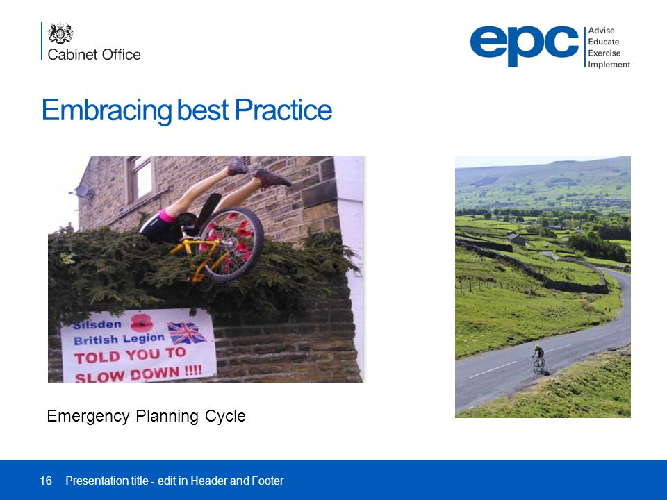 Embracing best Practice 16Presentation title - edit in Header and Footer Emergency Planning Cycle