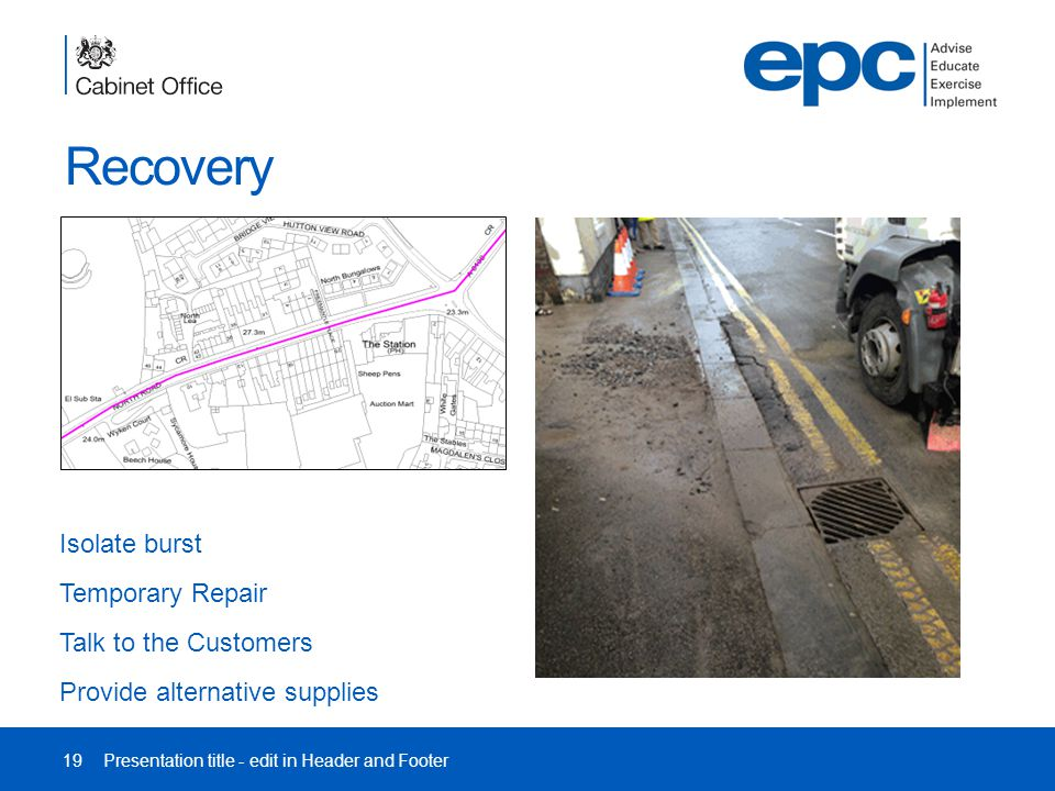 Recovery 19Presentation title - edit in Header and Footer Isolate burst Temporary Repair Talk to the Customers Provide alternative supplies