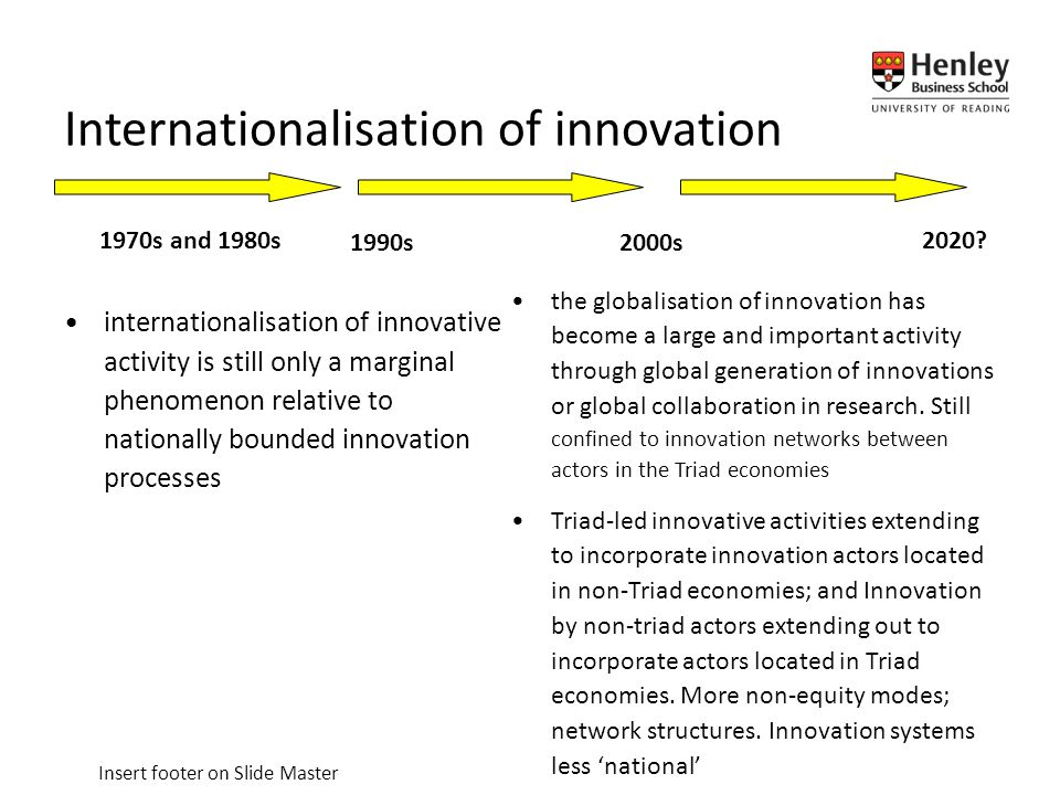 Insert footer on Slide Master internationalisation of innovative activity is still only a marginal phenomenon relative to nationally bounded innovation processes Internationalisation of innovation the globalisation of innovation has become a large and important activity through global generation of innovations or global collaboration in research.