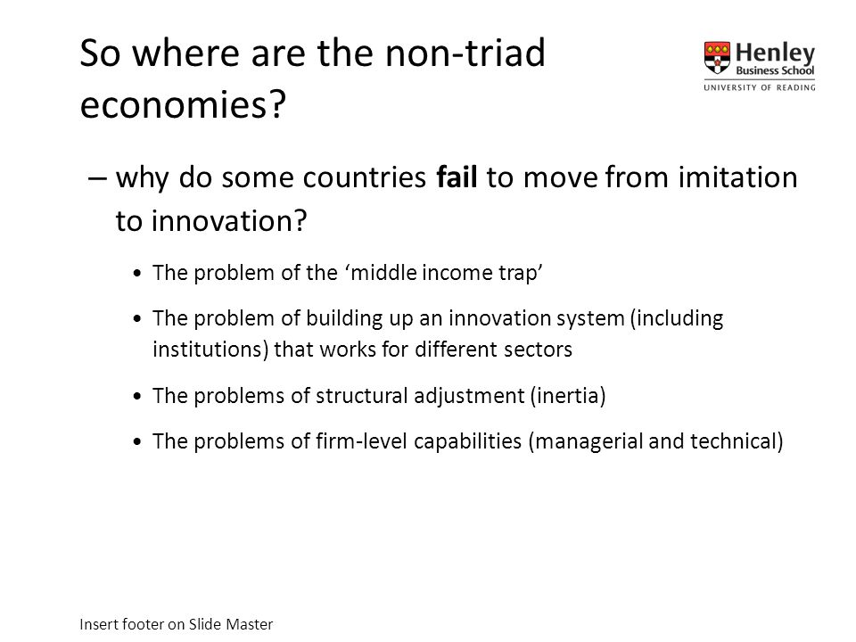 Insert footer on Slide Master –why do some countries fail to move from imitation to innovation.