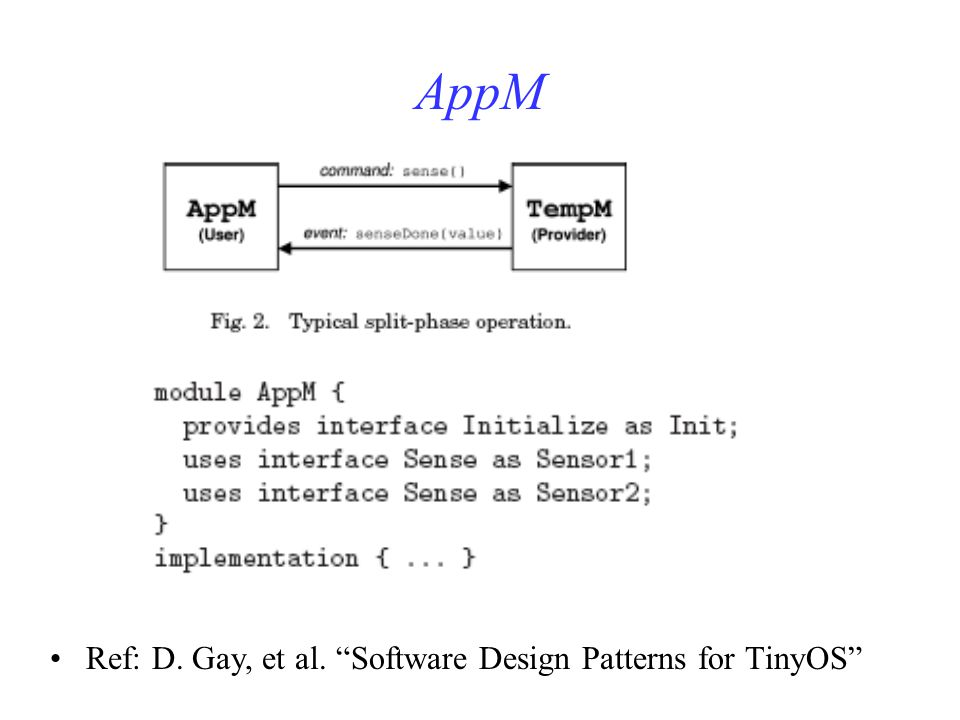 AppM Ref: D. Gay, et al. Software Design Patterns for TinyOS