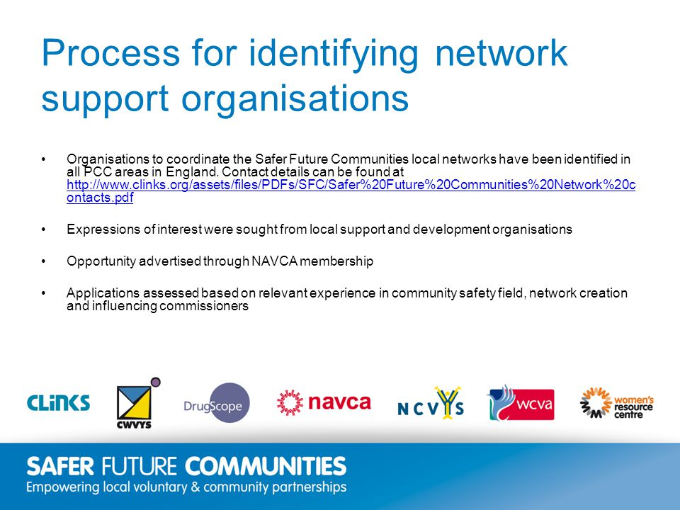 Insert title/footer text here www.clinks.org Process for identifying network support organisations Organisations to coordinate the Safer Future Communities local networks have been identified in all PCC areas in England.