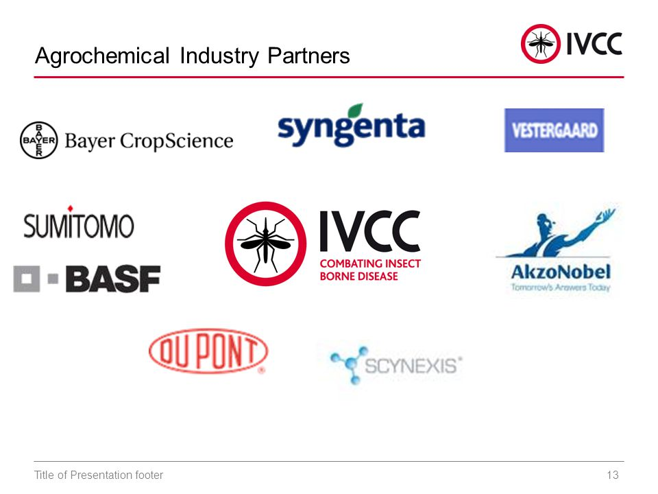13Title of Presentation footer Agrochemical Industry Partners