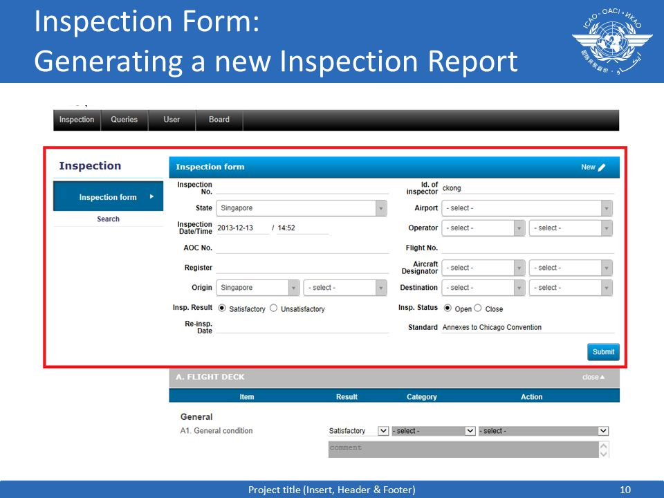 10 Inspection Form: Generating a new Inspection Report Project title (Insert, Header & Footer)