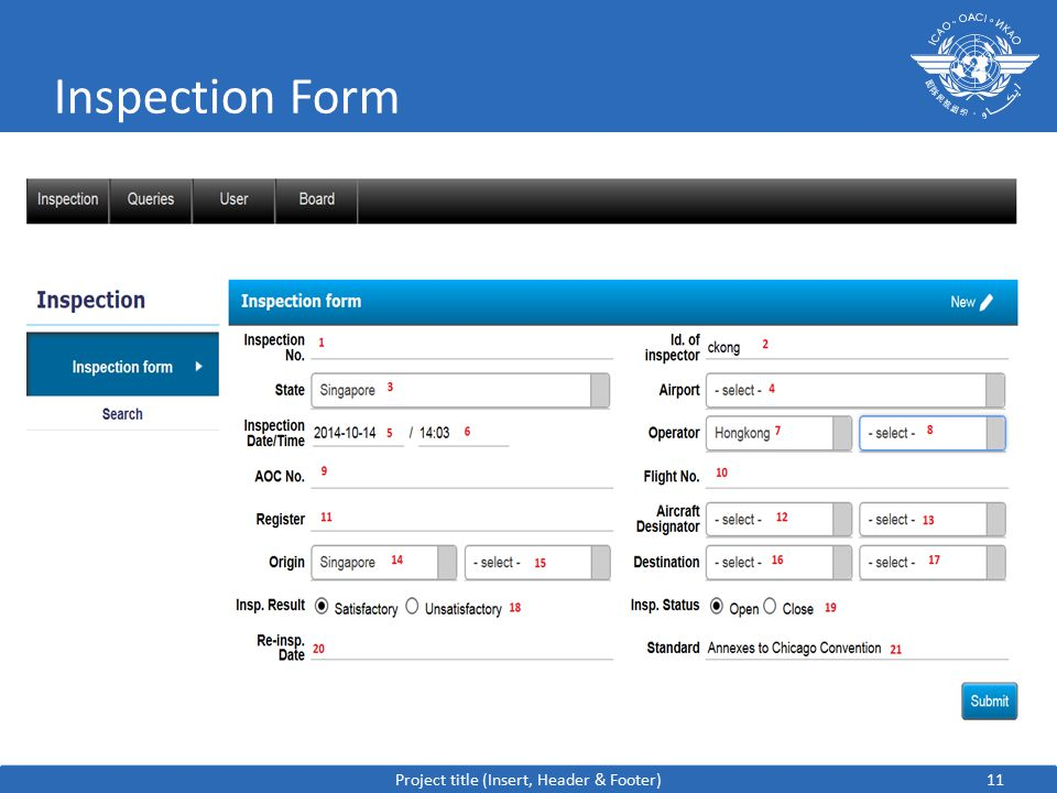11 Inspection Form Project title (Insert, Header & Footer)