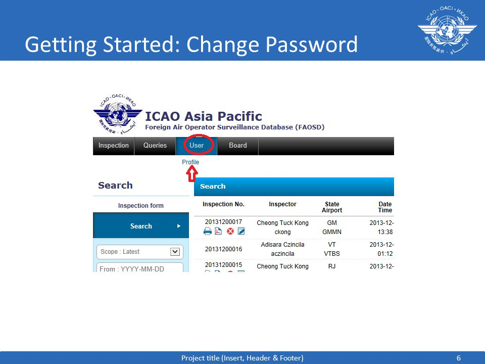 7 Getting Started: Change Password Project title (Insert, Header & Footer)