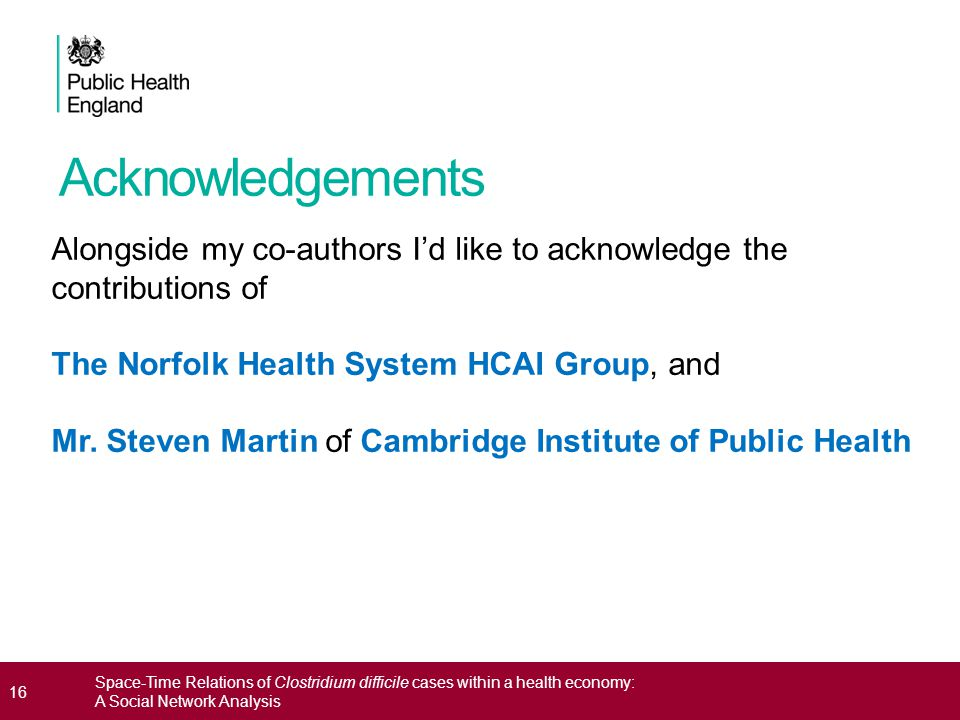 16 Space-Time Relations of Clostridium difficile cases within a health economy: A Social Network Analysis Acknowledgements Alongside my co-authors I'd like to acknowledge the contributions of The Norfolk Health System HCAI Group, and Mr.