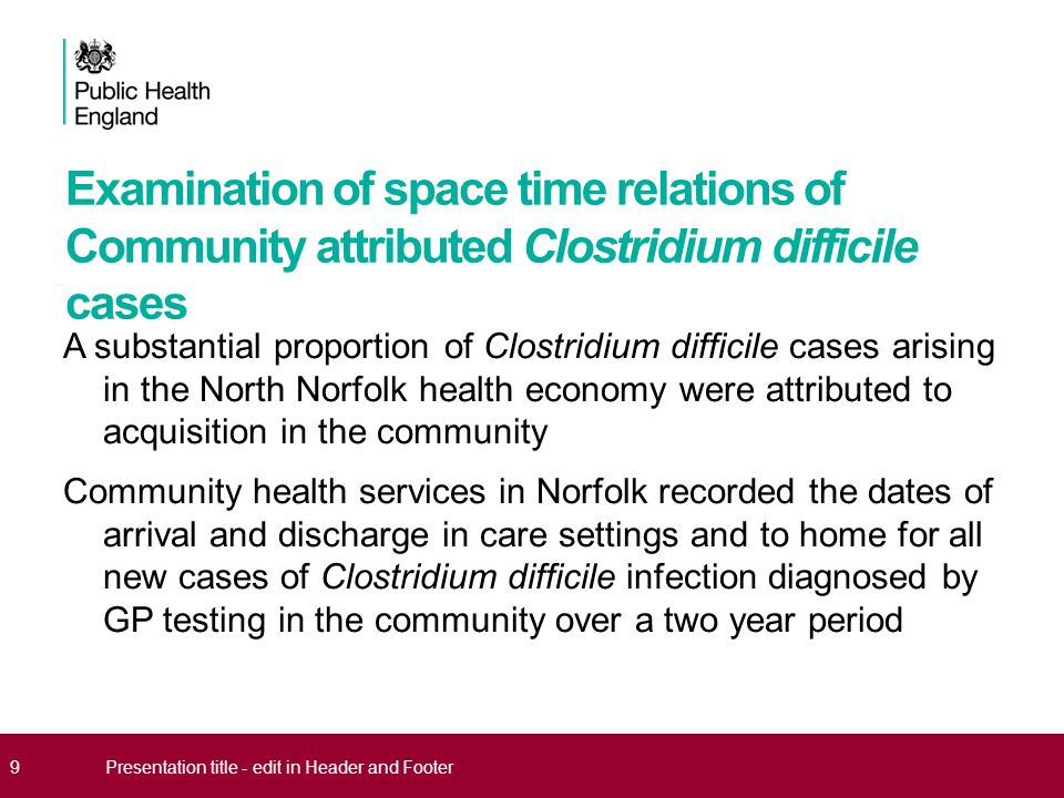 Examination of space time relations of Community attributed Clostridium difficile cases A substantial proportion of Clostridium difficile cases arisin