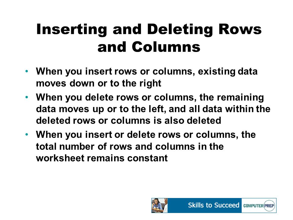 Inserting and Deleting Rows and Columns When you insert rows or columns, existing data moves down or to the right When you delete rows or columns, the remaining data moves up or to the left, and all data within the deleted rows or columns is also deleted When you insert or delete rows or columns, the total number of rows and columns in the worksheet remains constant