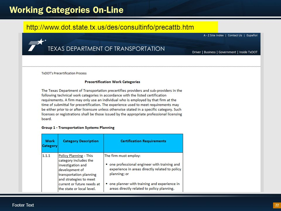 Footer Text Working Categories On-Line 22 http://www.dot.state.tx.us/des/consultinfo/precattb.htm