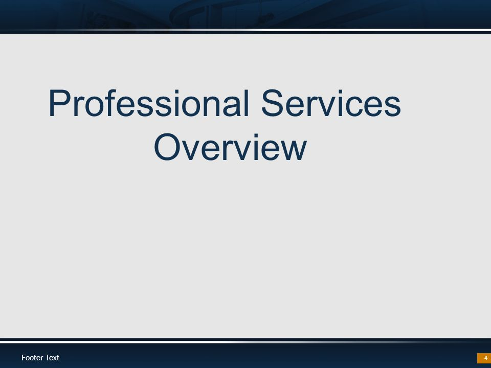 Footer Text 4 Professional Services Overview