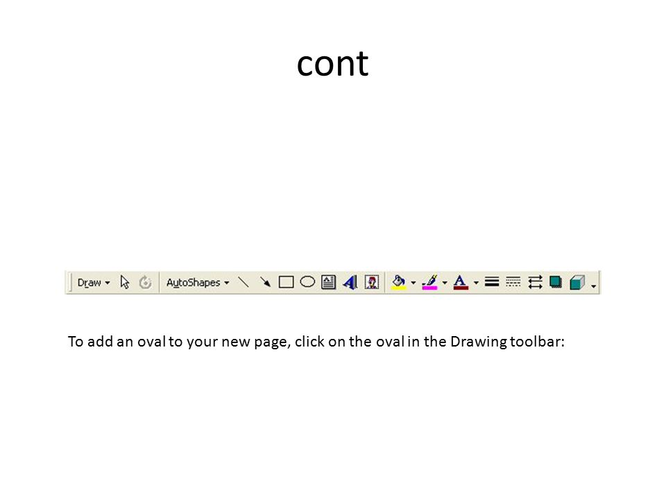 cont To add an oval to your new page, click on the oval in the Drawing toolbar: