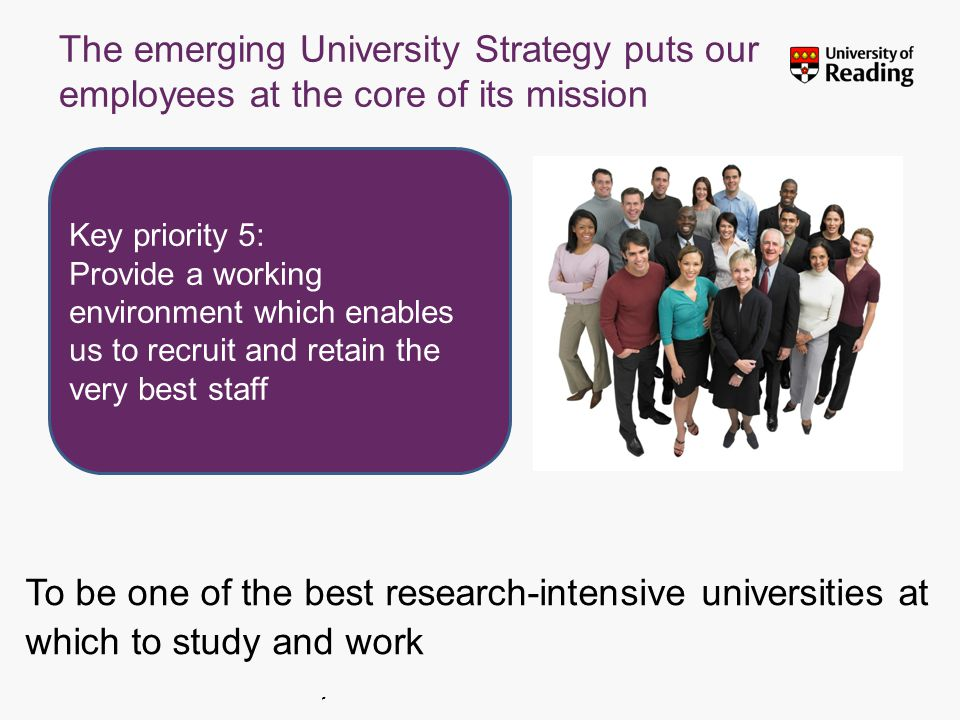 Insert footer on Slide Master The emerging University Strategy puts our employees at the core of its mission To be one of the best research-intensive