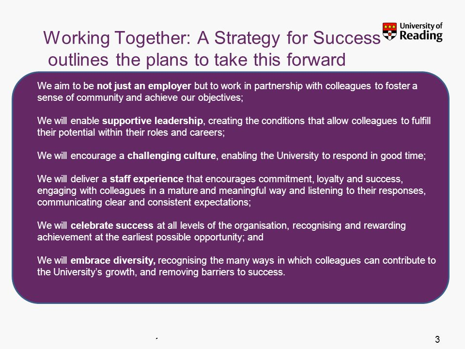 Insert footer on Slide Master3 Working Together: A Strategy for Success outlines the plans to take this forward We aim to be not just an employer but