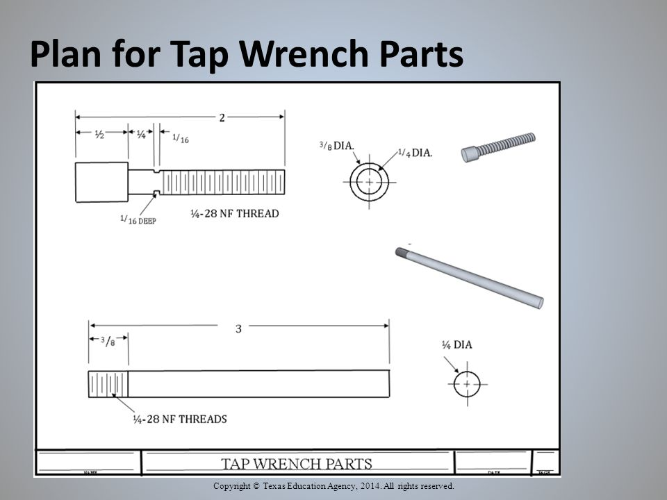 Plan for Tap Wrench Parts Copyright © Texas Education Agency, 2014. All rights reserved.