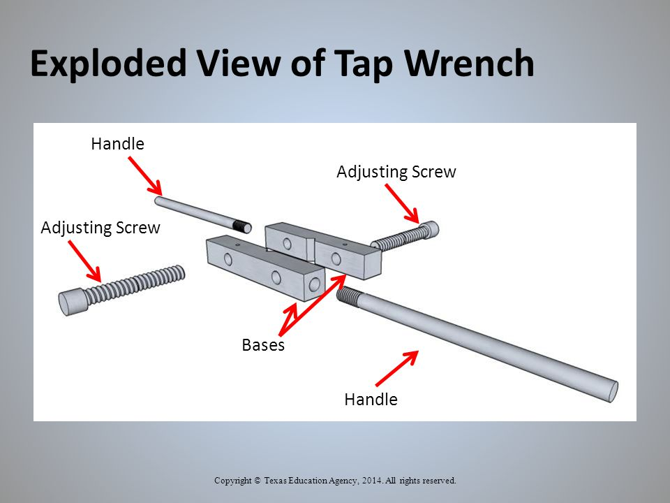 Exploded View of Tap Wrench Copyright © Texas Education Agency, 2014.
