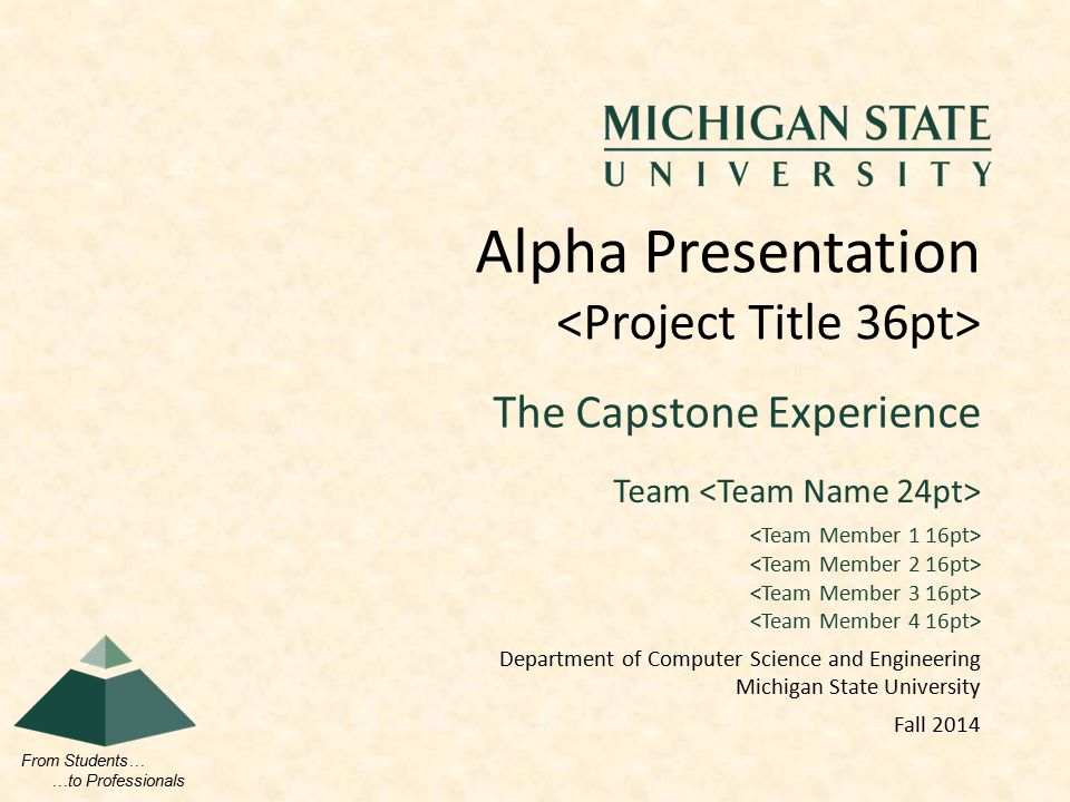 From Students… …to Professionals The Capstone Experience Alpha Presentation Team Department of Computer Science and Engineering Michigan State University Fall 2014