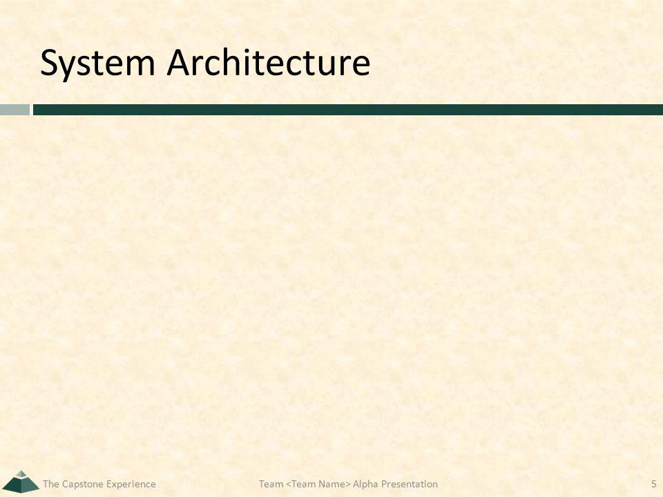 System Architecture The Capstone ExperienceTeam Alpha Presentation5