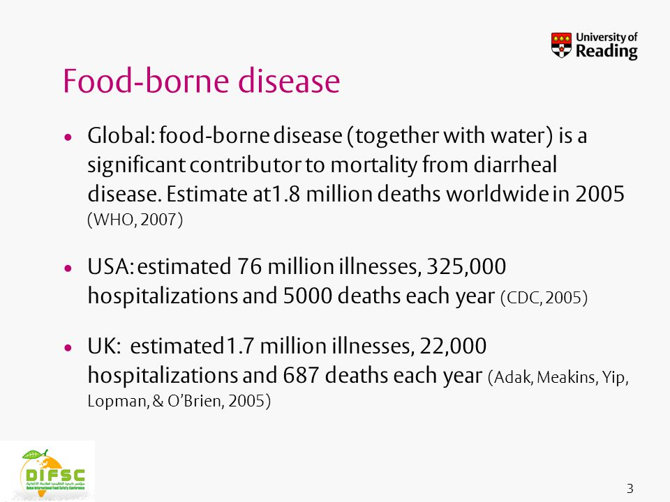 Insert footer on Slide Master Global: food-borne disease (together with water) is a significant contributor to mortality from diarrheal disease.