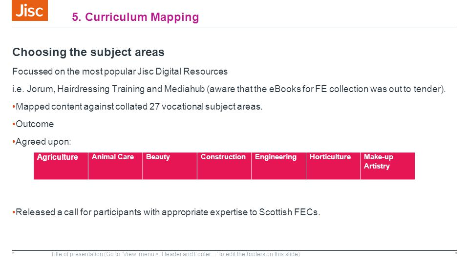 5. Curriculum Mapping Choosing the subject areas Focussed on the most popular Jisc Digital Resources i.e. Jorum, Hairdressing Training and Mediahub (a