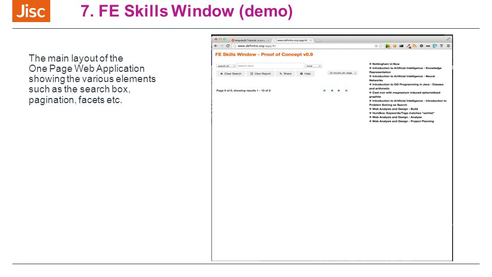 7. FE Skills Window (demo) The main layout of the One Page Web Application showing the various elements such as the search box, pagination, facets etc