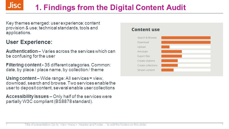 1. Findings from the Digital Content Audit Key themes emerged: user experience; content provision & use; technical standards, tools and applications.