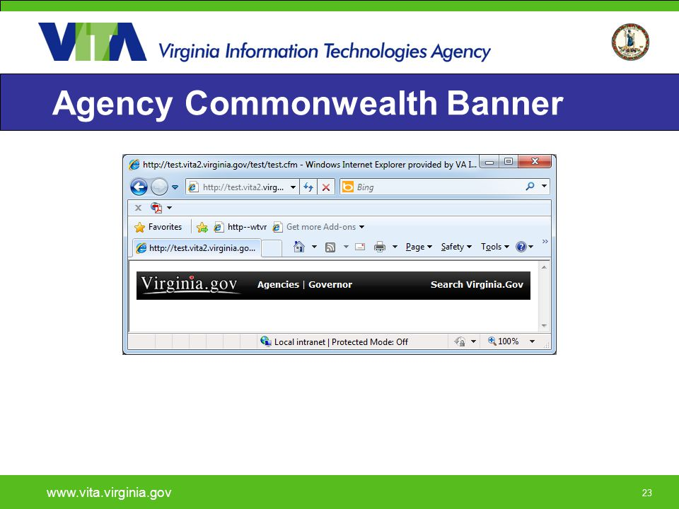 23 Agency Commonwealth Banner www.vita.virginia.gov