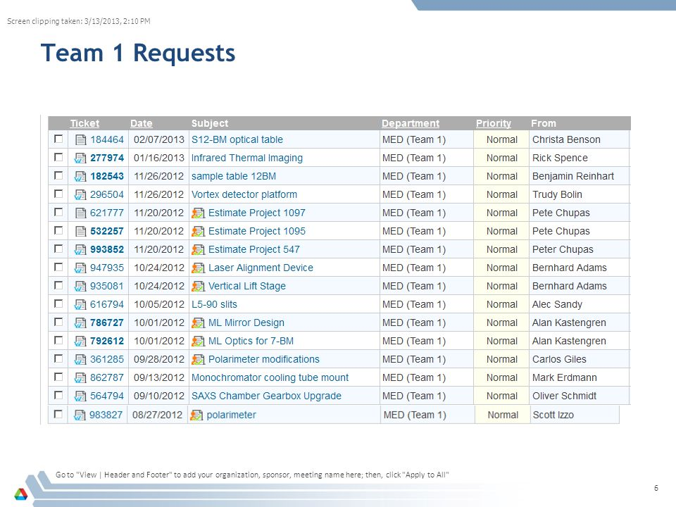 Team 1 Requests Go to View | Header and Footer to add your organization, sponsor, meeting name here; then, click Apply to All 6 Screen clipping taken: 3/13/2013, 2:10 PM