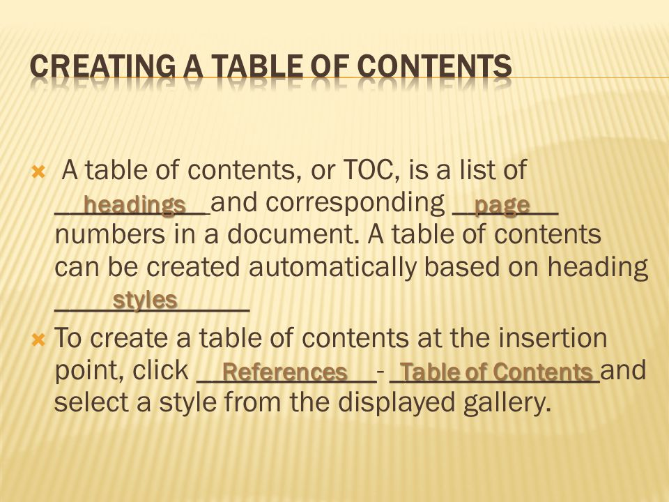  A table of contents, or TOC, is a list of __________ and corresponding _______ numbers in a document.