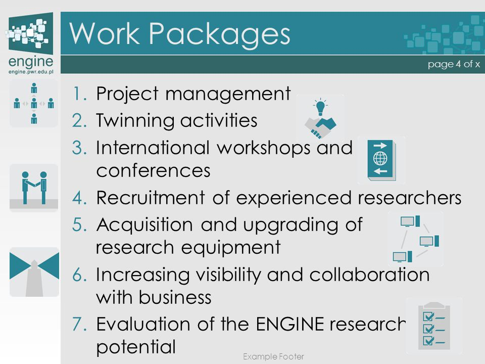 Work Packages Example Footer page 4 of x 1. 1.Project management 2.